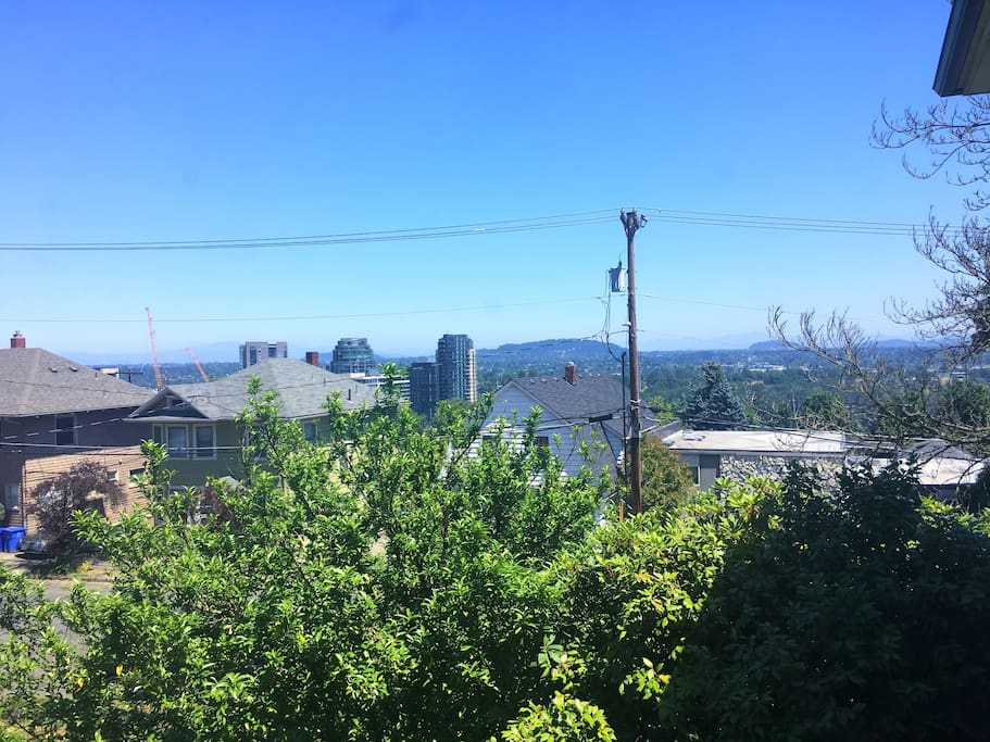 Gorgeous panoramic view of the city and mountains right from our living room window.