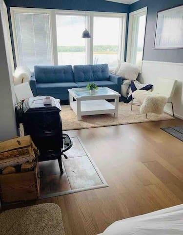 Sittgrupp med öppen spis. Soffan kan bli en 200x140 centimeter säng  Seating area with fireplace. The sofa can be a 200x140 centimeter bed  Oleskelualue jossa takka. Sohva voi käntää 200x140 cm:n kokoinen vuode