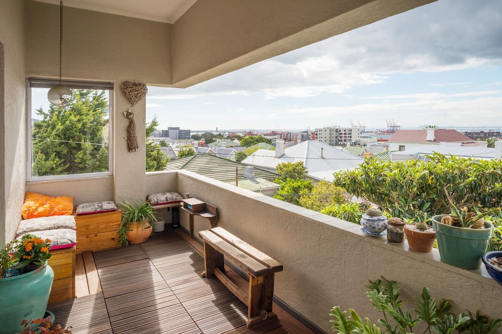 Sunny balcony with views of Table Bay Harbour