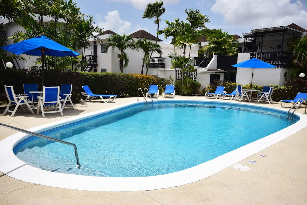 Each cluster of apartments in Rockley has its own communal pool - perfect for catching those rays!