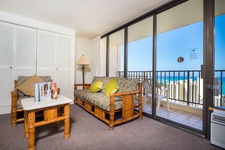 Spacious living room and balcony!