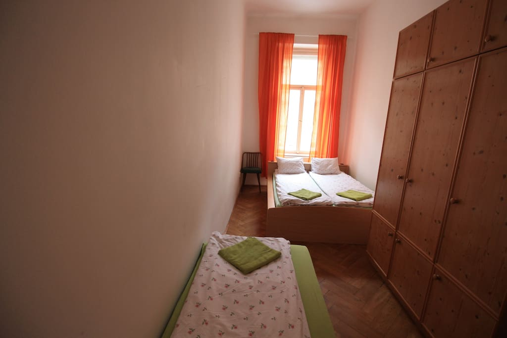 Your private bedroom 12A2, 3 beds ,wardrobe , chair access to kitchen and bathroom