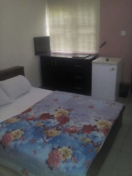 Queen sized beds with cooker top, refrigerator, LCD tv, full bath, closet space and nice balcony.