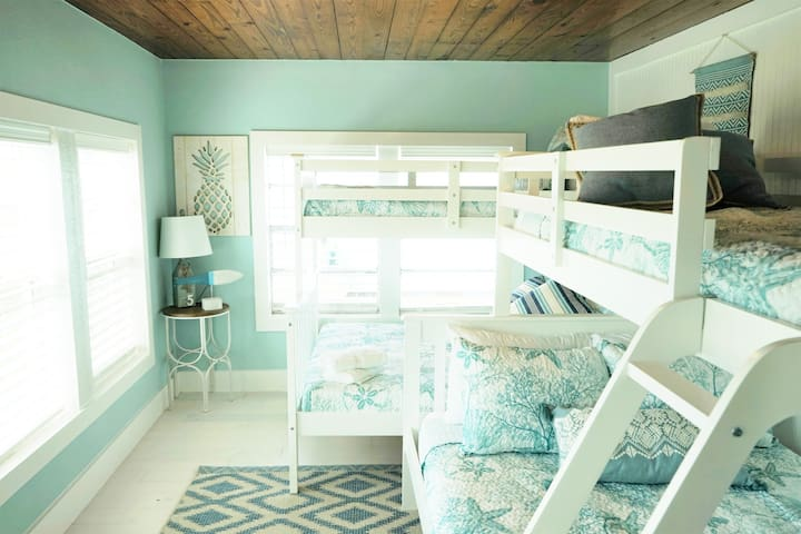 Welcome to the bunkhouse! The room fits 6 with two twin over full bunk beds.