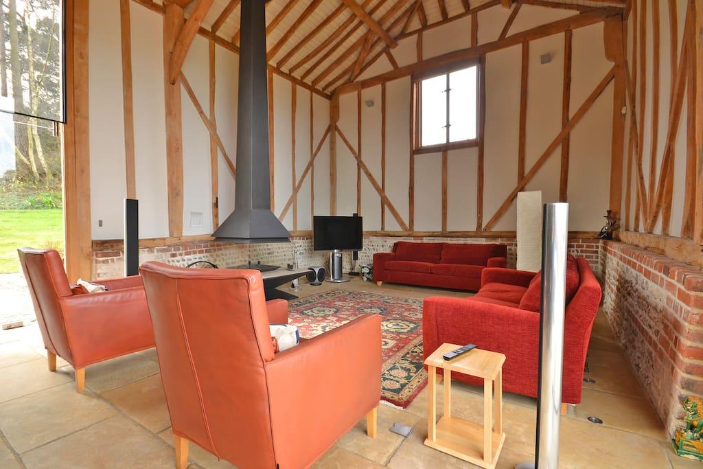 Unusual spacious family living room