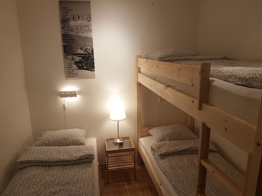 Small bedroom with one single bed and one bunk bed (2 beds)