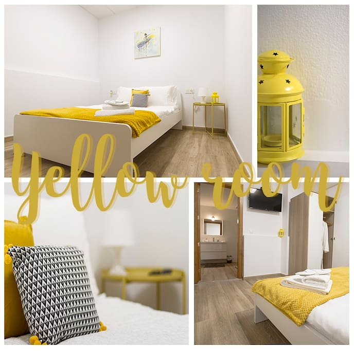 Stylish yellow room with ensuite bathroom / no window