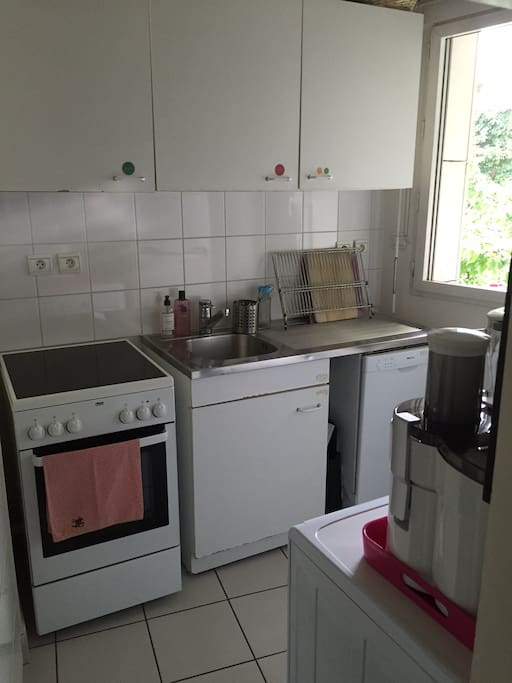 The Kitchen doesn't look glamorous but it's very practical : induction, oven, sink, fridge and freezer, washing machine