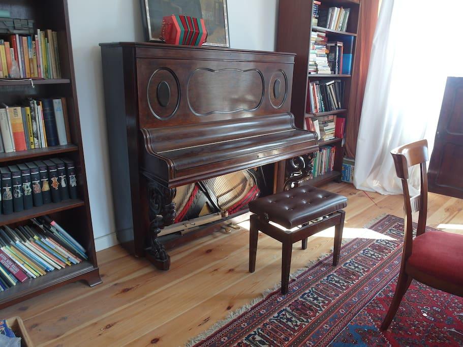 Musikzimmer mit Klavier, Harmonium (deutsch und indisch), Akkordeon, Konzertina, Gitarren u.a.m., Bibliothek