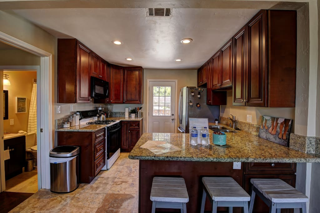 Feel at home cooking in a full stocked kitchen. Guests have access to use refrigerator and all cooking equipment.