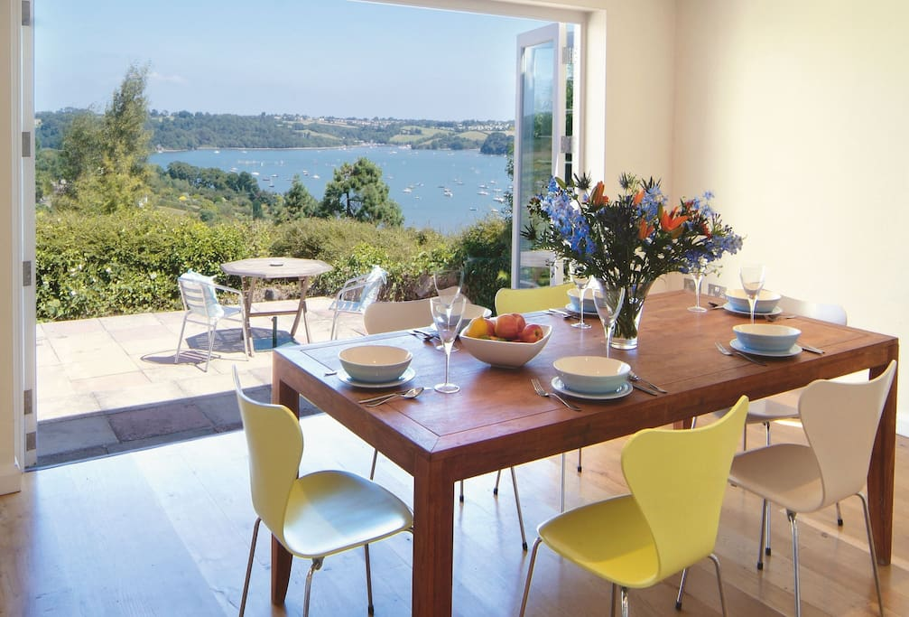 Ground floor: Dining area with views of the Dart Estuary