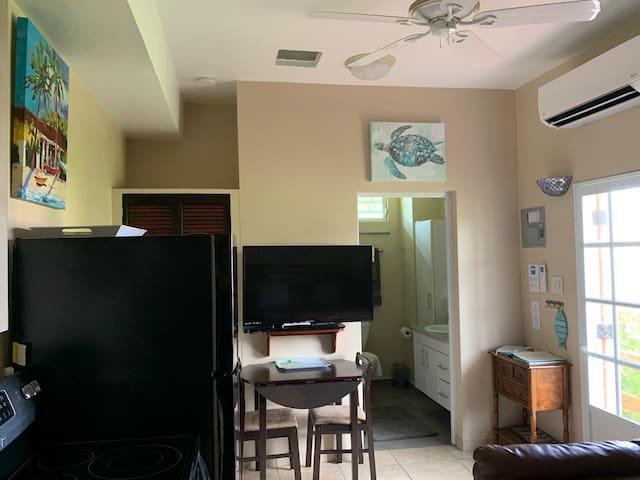 Suite C dining. TV, AC, fan, door to bathroom and screen door to outside