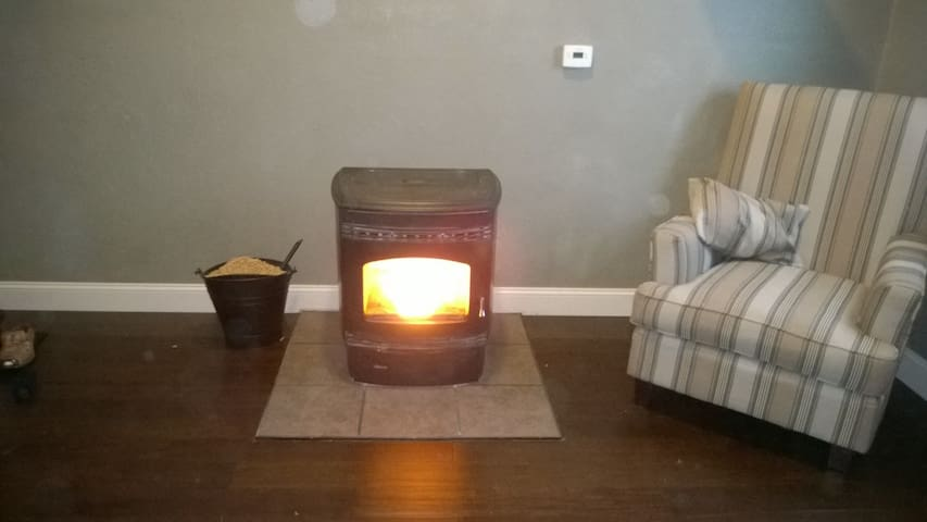 Pellet stove keeps you warm on the cold winter nights