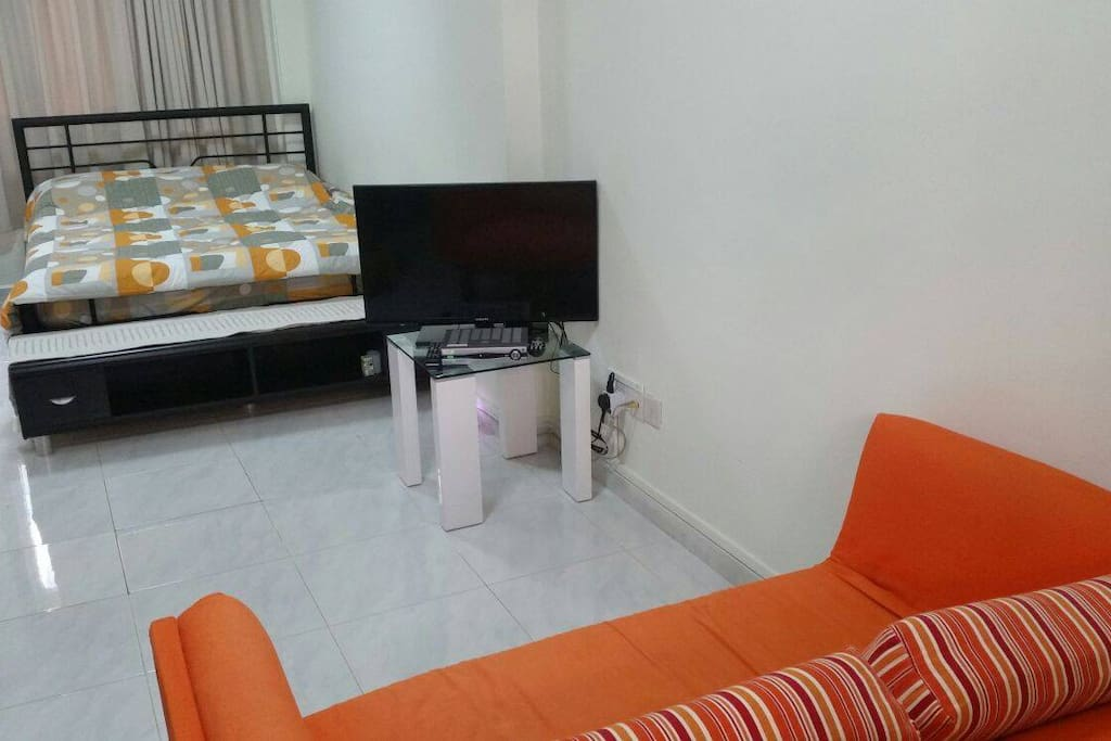 Apt is equipped with TV set with cable channels and high speed wifi connection.