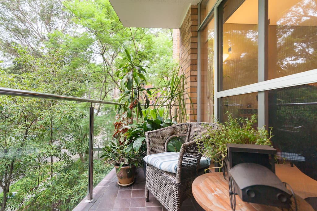 Balcony setting, sit out here to enjoy your breakfast or lunch .