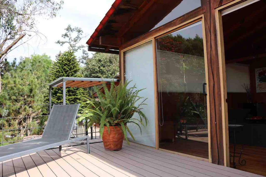 Large and sunny Upstairs terrace with lake and forest view