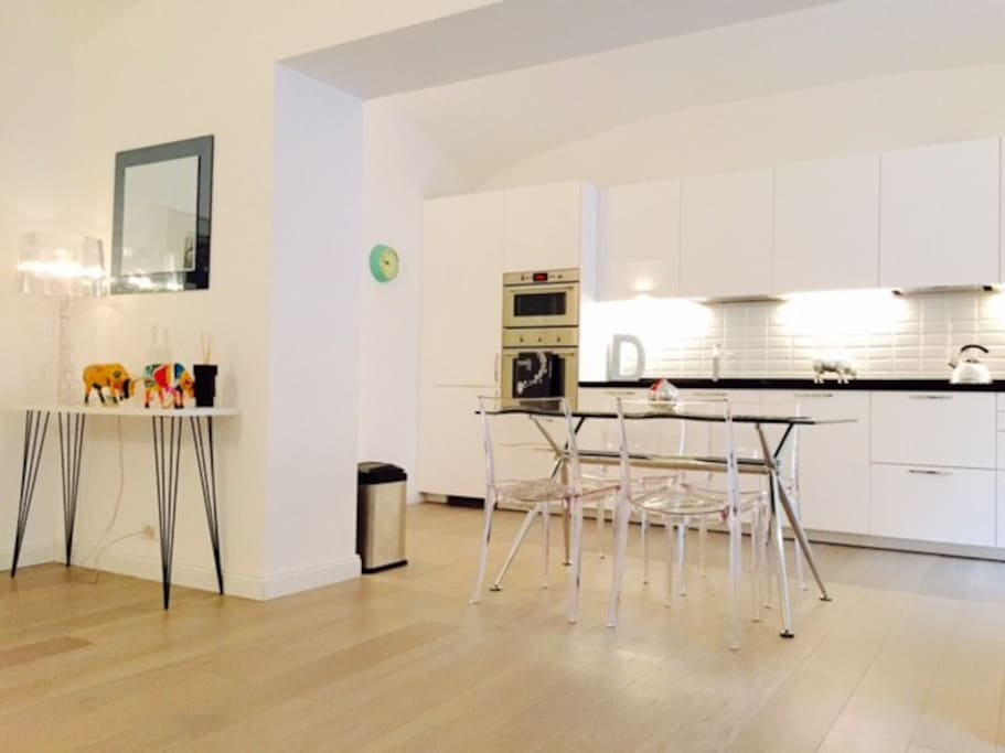Open plan kitchen, sitting, dining and sitting room