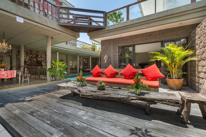 The pool deck with the sofa