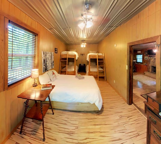 The large bedroom sleeps 6 without feeling crowded!