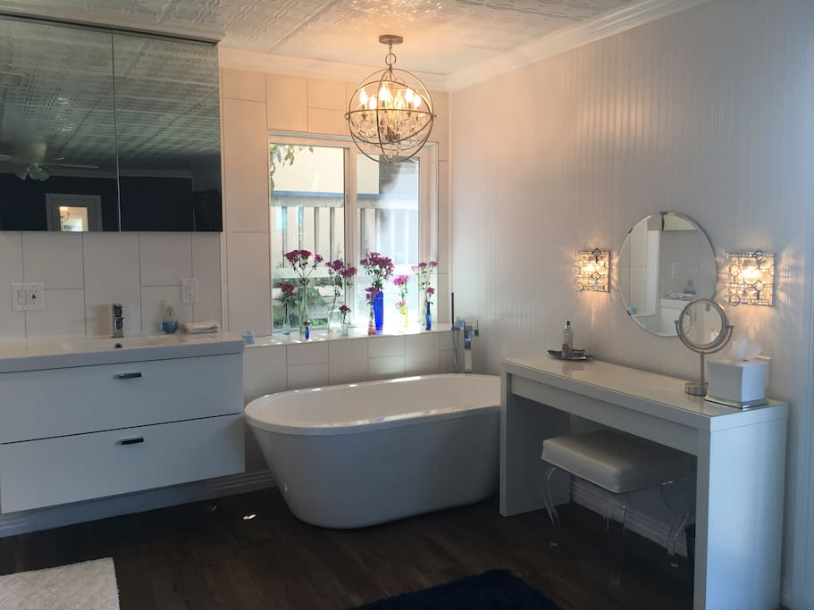 Master bathroom with brand new tub, vanity sink and walk in shower.