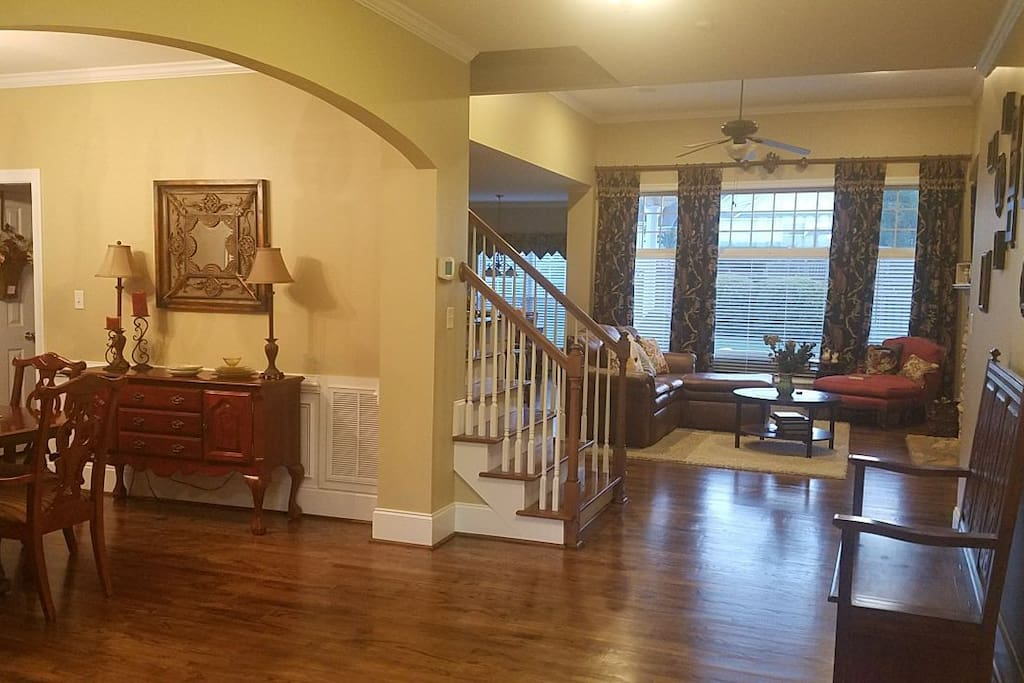 Foyer that leads to a very open floor plan