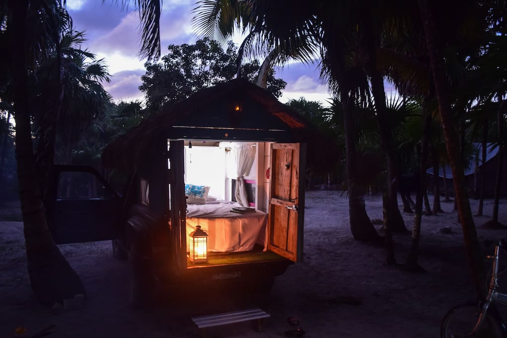 Candle-lit lanterns and battery operated lights keep the Palapa Truck well lit after the sun sets...and of course, the moonlight and starlight.