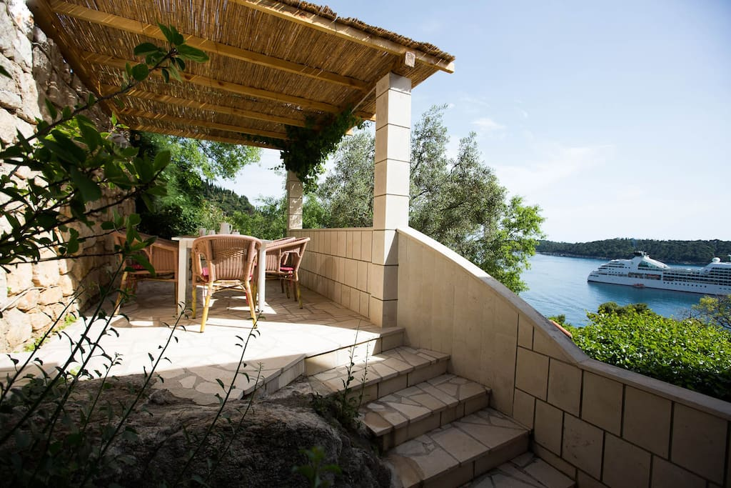 Private terrace in shade overlooking the island of Lokrum