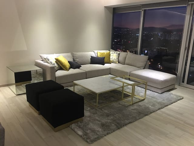 Luxury bedrooms in stylish apartment on 14th floor
