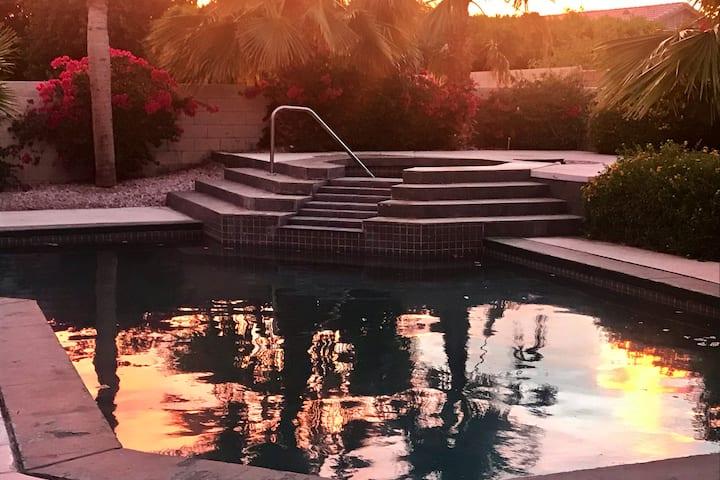 Orange Blossom Villa Pool & Spa border PalmSprings