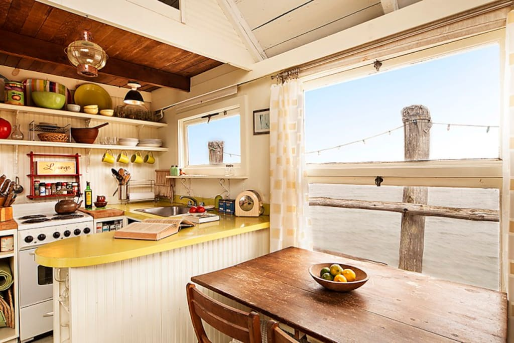 Kitchen with views towards the jetty
