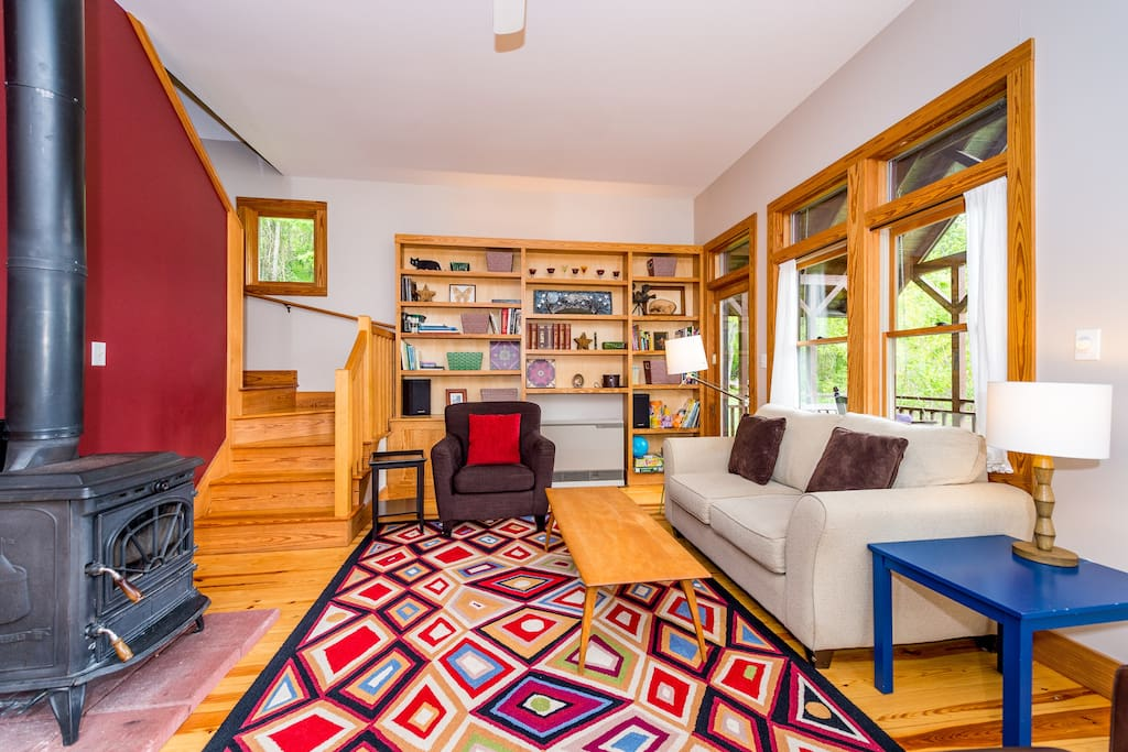 Fun, cozy living room with wood stove