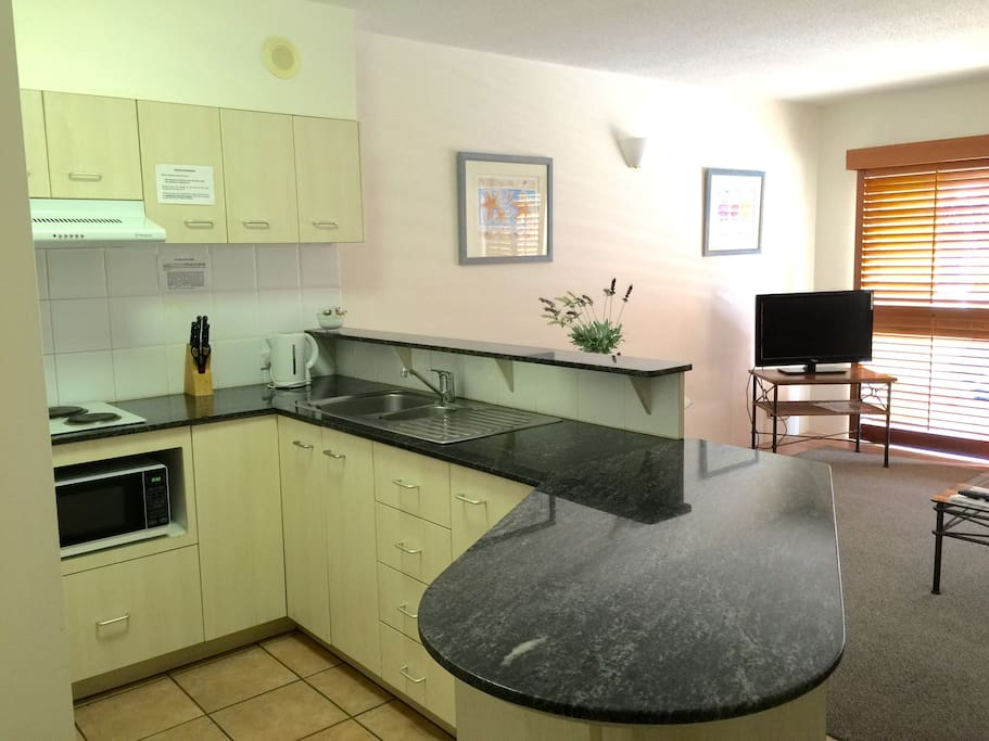 If you want to eat in, you have access to stove top, microwave, fridge and a fully equipped kitchen.