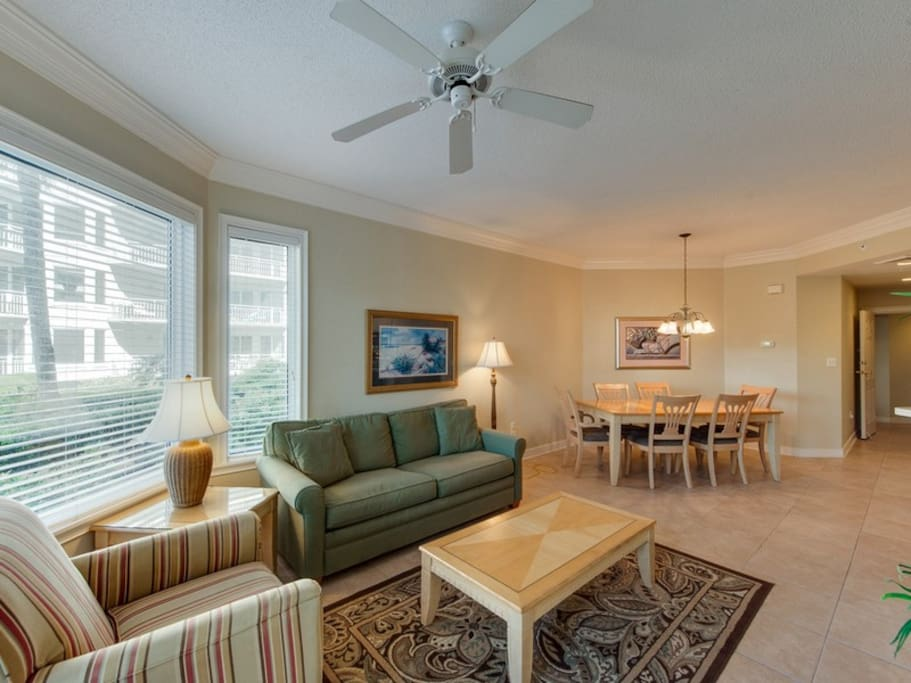 Living Room and Dining Area at 2104 SeaCrest
