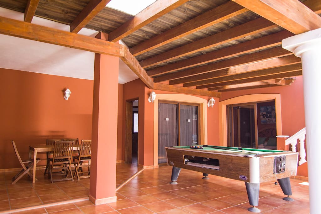 Big terrace with pergola,chairs,table and pool table