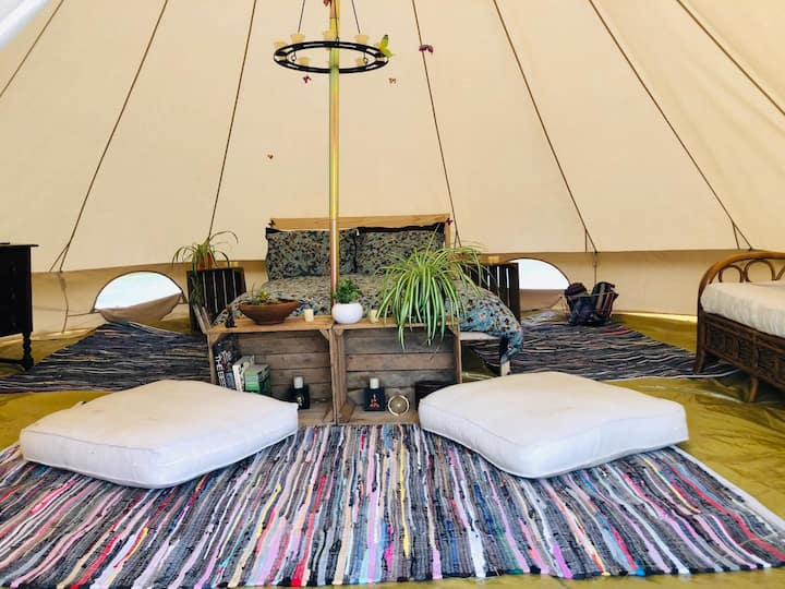 Pair of beautiful bell tents on smallholding
