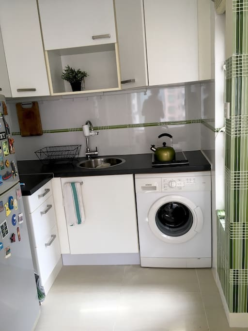 Renovated kitchen with washing machine.