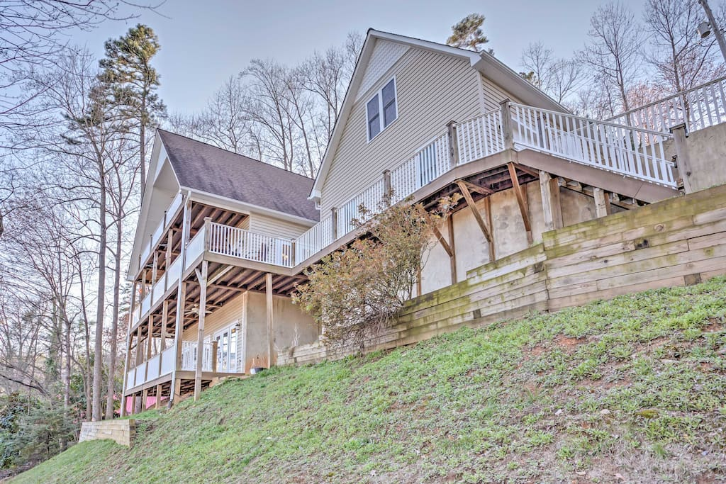 The home was built on a hillside and is situated on a quiet, tree-covered lot.