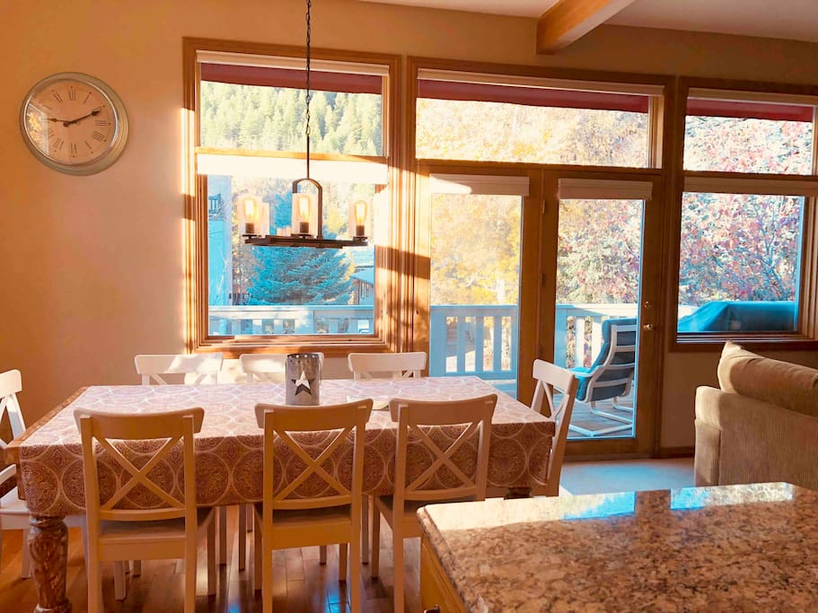 Sun drenched dining table with a view!