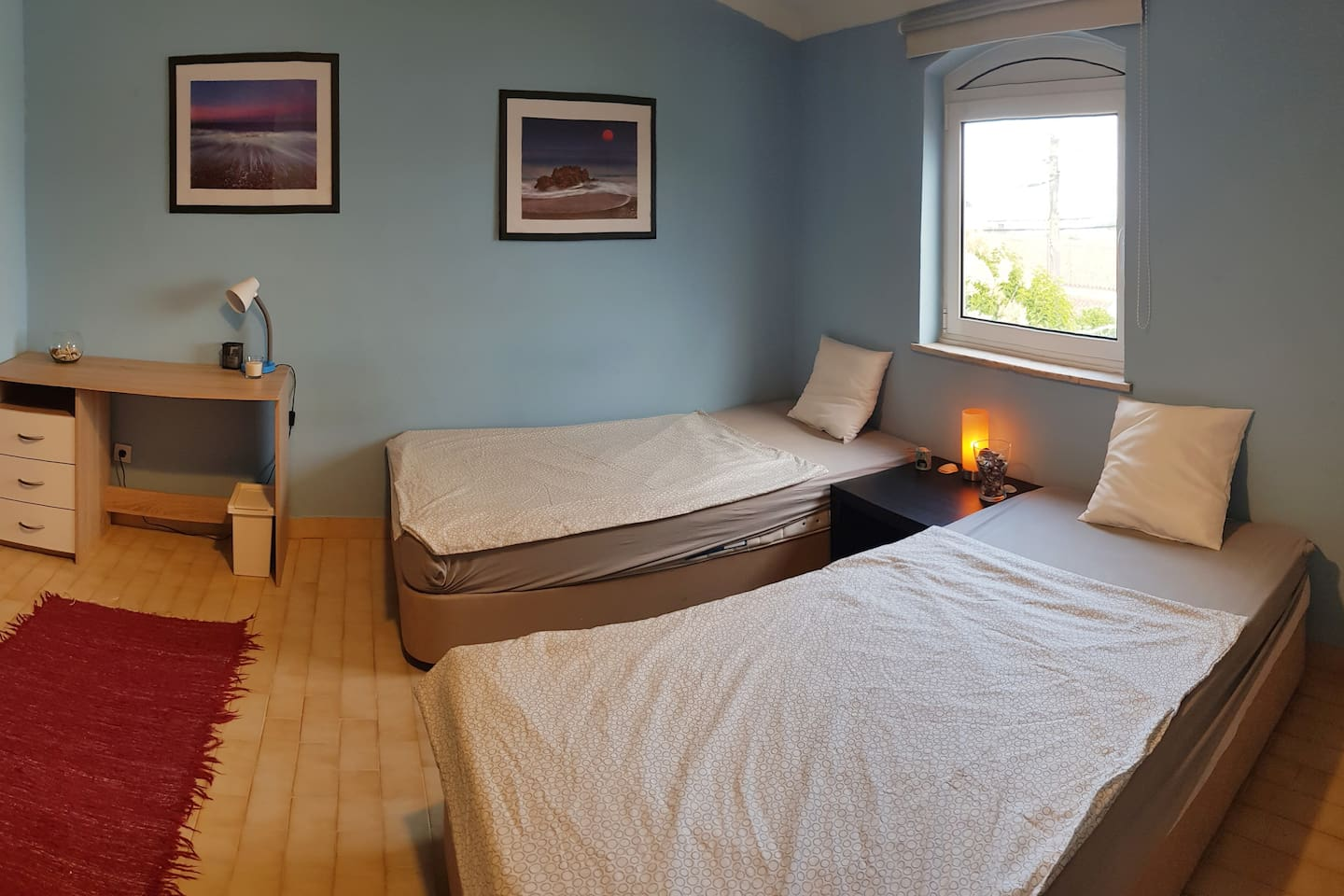 This is the bedroom which offers space for up to three persons and is part of a 5 bedroom house. WiFi signal is available in the room.