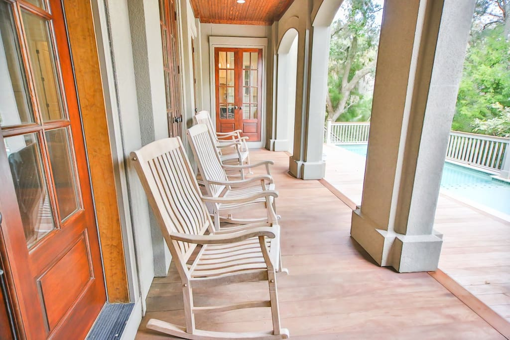 large porch by private pool