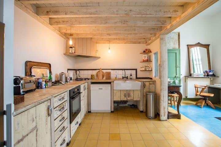 Kitchen with oven, washing machine, fridge… all equipment