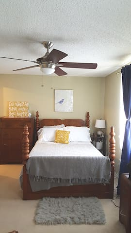 This cozy bed is made of memory foam and sits on a 1920s NC handmade bed frame. The room has black out curtains, fresh linens, lots of storage, and in-room coffee service. Need to check some emails? There is a desk for that too.