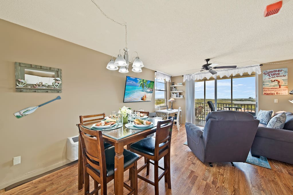 The kitchen and living area look out towards the bay and the Gulf of Mexico.