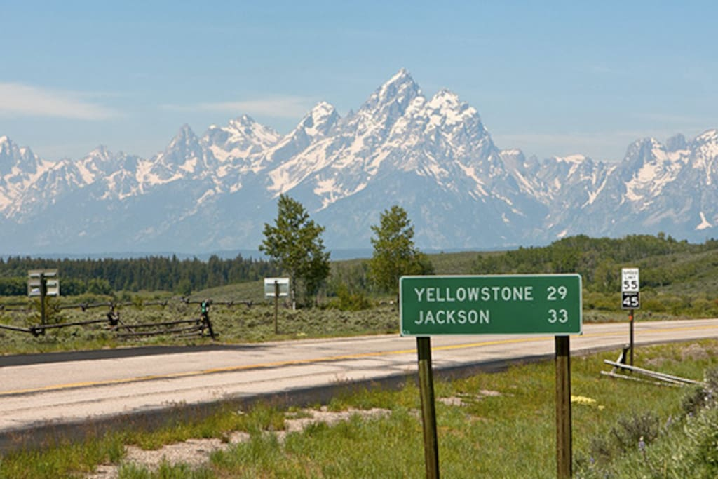view of Tetons from RV campground