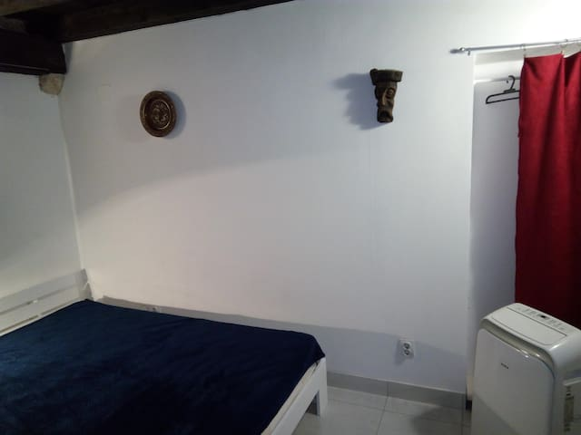 This was single room before, but mostly two people coming, so i put 140x200 double bed, with AC