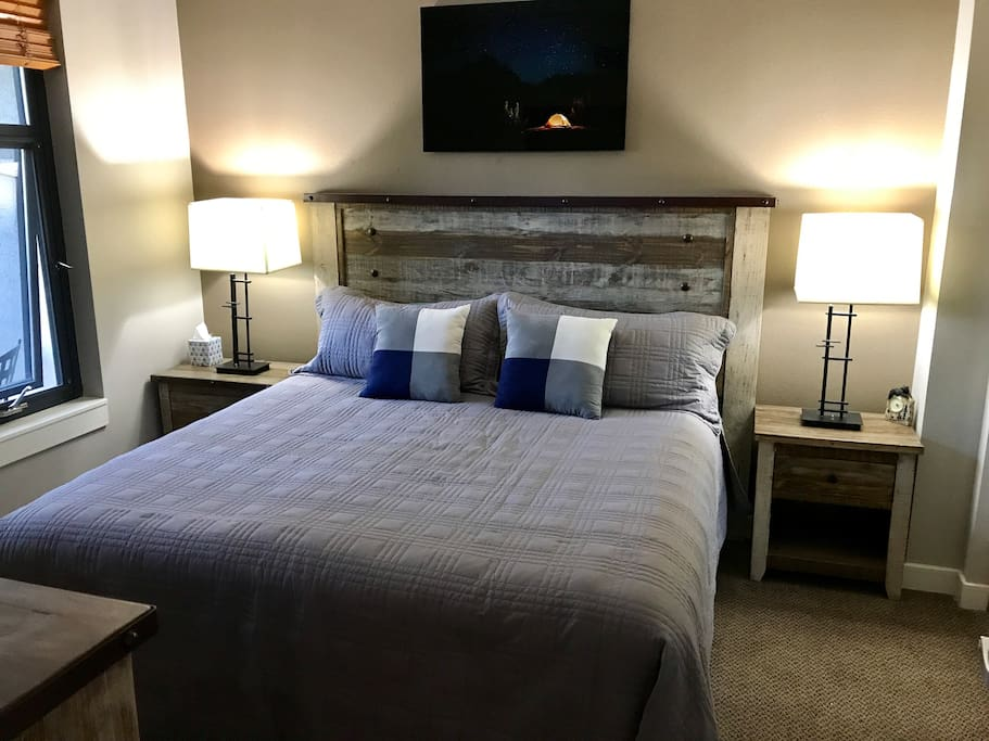 New refurbished barn wood furniture in the bedroom. Bedroom also has a TV atop Barn wood chest of drawers/entertainment center.
