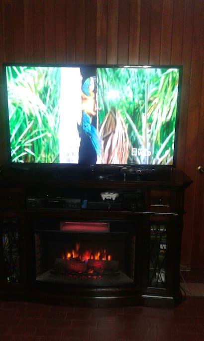 Area de tv y chimenea