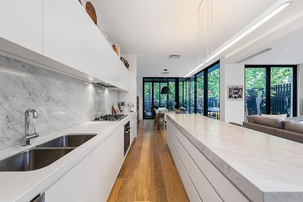 Kitchen with marble bench top