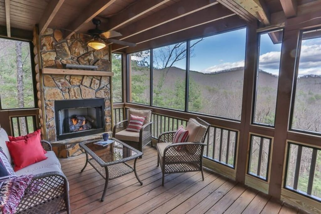 gas fireplace on the screened deck