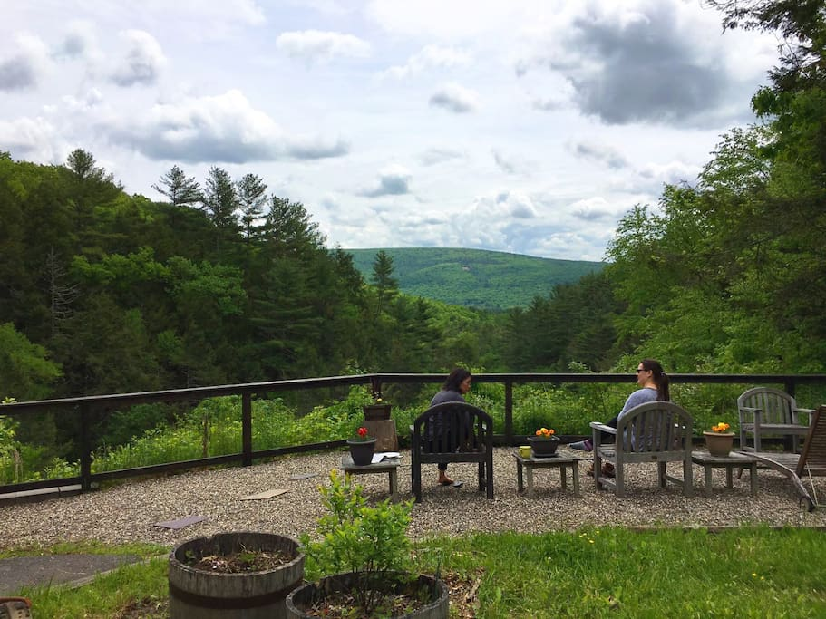 Enjoy the amazing mountain views while chatting with friends.